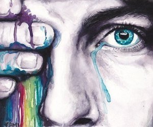 art, tears, and colors image
