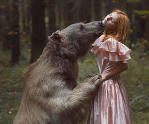 bear, girl, and nature image