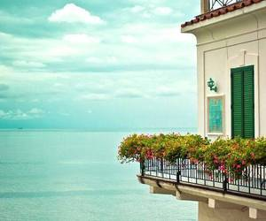 sea, flowers, and house image