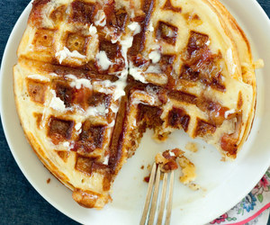 bacon, syrup, and waffles image
