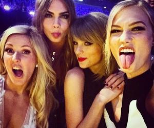Taylor Swift, Ellie Goulding, and cara delevingne image