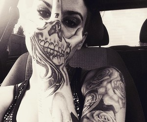 tattoo, skull, and black and white image