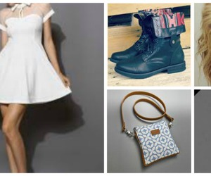 combat boots, dress, and fancy yet comfortable image