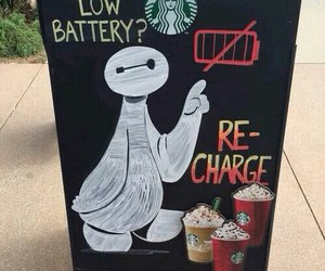 starbucks, baymax, and funny image