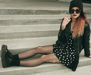 black tights, lookbook, and creepers image