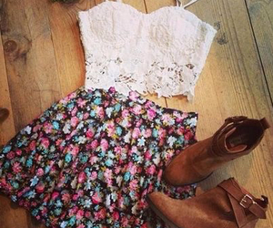 ankle boots, cute outfit, and flower crown image