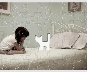 cat, girl, and puzzle image