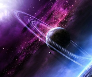 galaxy, planet, and space image