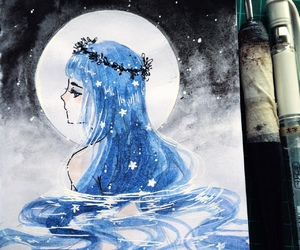 art, blue hair, and girl image