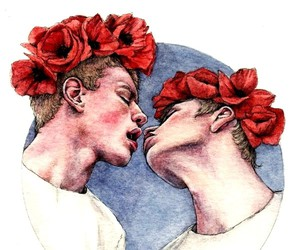 gay, kiss, and flowers image