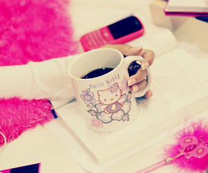 hello kitty, pink, and coffee image