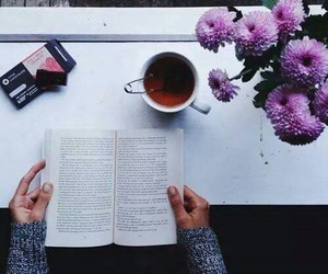 book, flowers, and tea image