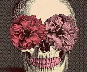 pink, skull, and red image