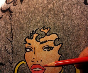 drawing, art, and Afro image