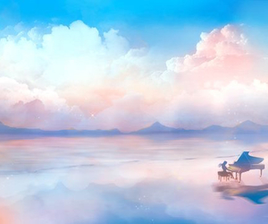 clouds, art, and piano image