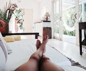 bed, legs, and home image