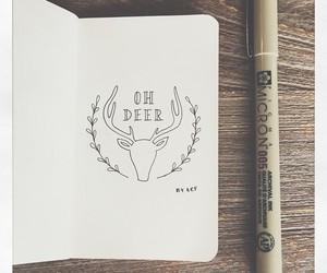 antlers, drawing, and deer image