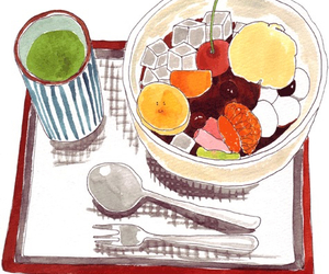 art, cherry, and food image