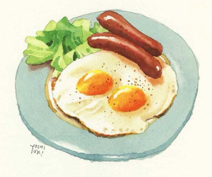 art, breakfast, and eggs image