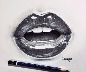 drawing, lips, and art image