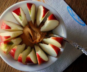 apple, peanut butter, and food image