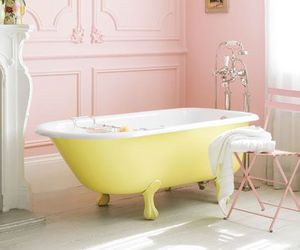 bathtub, tub, and canary yellow image