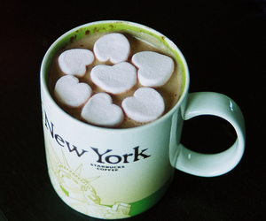 cup, new york, and chocolate image