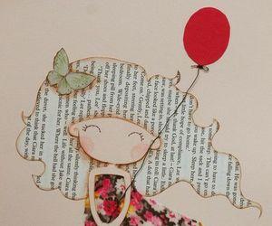 girl, art, and balloons image