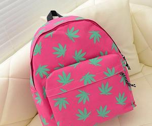 backpack, leaf, and pink image