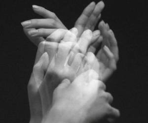 hands, black and white, and black image