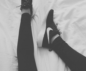 black and white, shoes, and fashion image