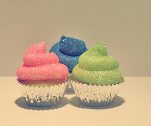 cupcake, glitter, and pink image