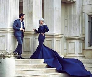 dress, couple, and blue image