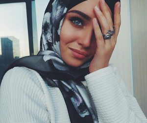 hijab, eyes, and beauty image