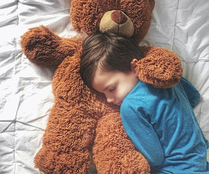 dreams, little kid, and teddy bear image