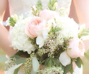 baby's breath, bouquet, and bridal image