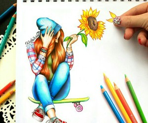 sunflower, skater girl, and cute image