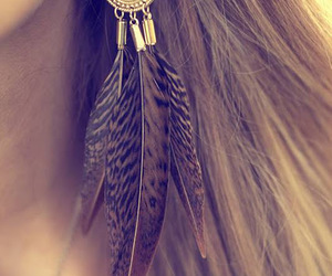 earrings, feather, and hair image