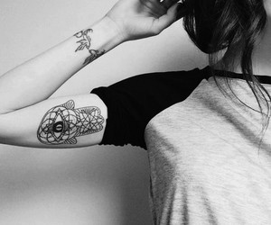 black and white, tattoo, and tattooed girl image
