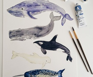 art, whale, and drawing image