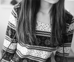 girl, sweater, and black and white image