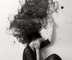 black and white, art, and woman image