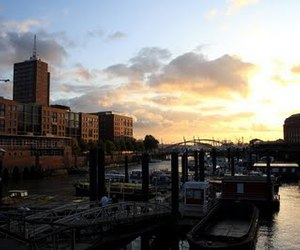 hamburg and sunset image