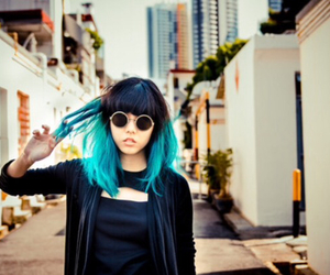 asian, beauty, and blue hair image