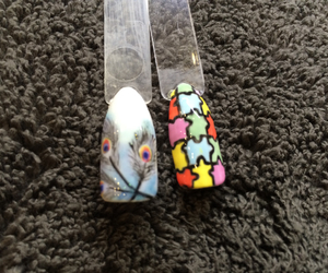 feather, nailart, and handpainted image