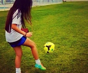girl, football, and fille image