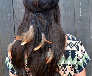 feather, hair, and hipster image