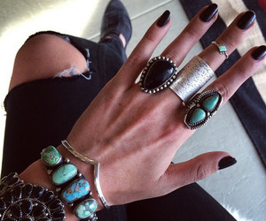 black nails, fashion, and outfit image