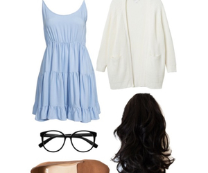 brown, light blue, and Polyvore image