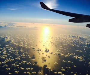 plane, sunset, and scenery image